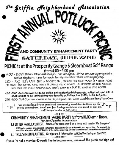 First Annual Potluck Picnic poster